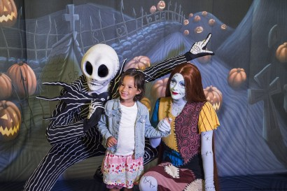 """Disney Cruise Line will treat guests sailing this fall to a wickedly good time as the Disney ships transform into a ghoulish wonderland during Halloween on the High Seas cruises. This extra-spooky celebration features """"'A Nightmare Before Christmas'—Sing and Scream,"""" an interactive movie experience followed by a meet-and-greet with Jack Skellington and Sally. (Matt Stroshane, photographer)"""