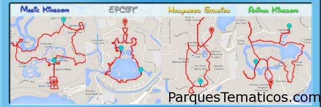 Mapas de distancias para caminar en los parques Disney de Orlando
