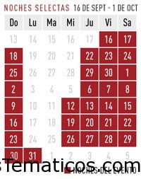 Calendario del Evento de  Halloween Horror Nights 2016