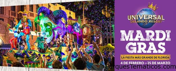 Mardi Gras desde hoy 4 de febrero hasta el 25 de marzo en Universal Orlando