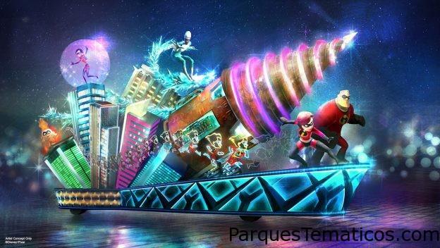 El desfile 'Paint the Night' en Disney California Adventure llega con la nueva carroza inspirada en 'The Incredibles' e 'Incredibles 2'