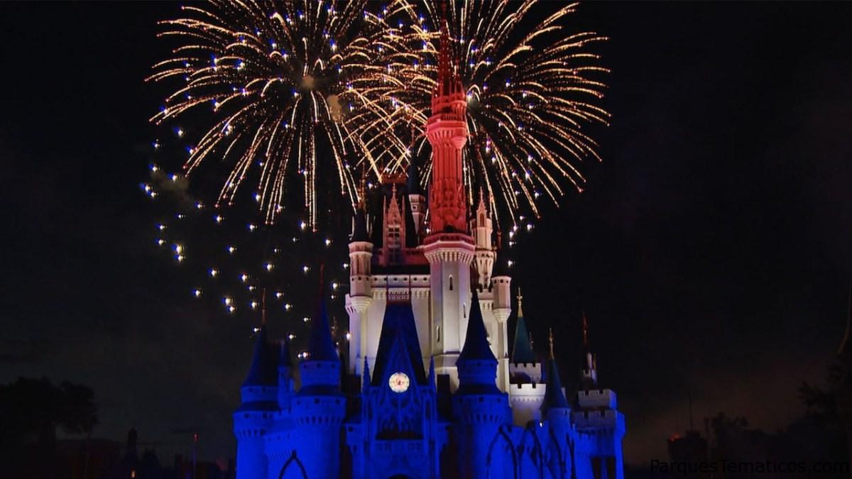 Visualización virtual de los fuegos artificiales del 4 de julio en Walt Disney Orlando