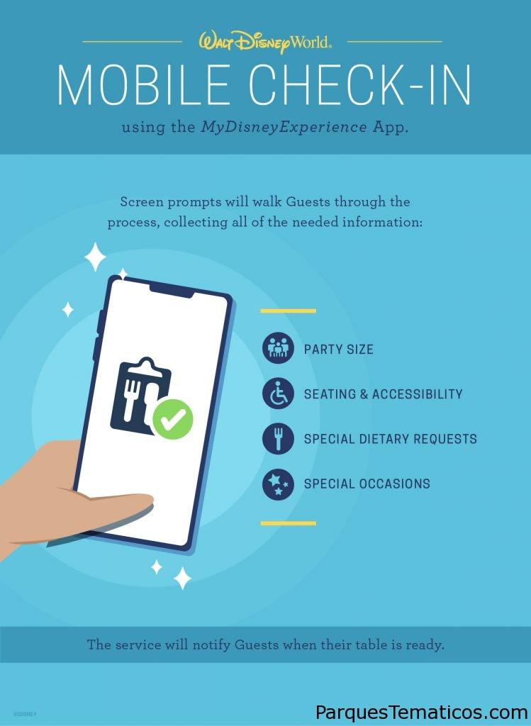 Los huéspedes también pueden aprovechar la nueva función de check-in móvil My Disney Experience , que permite a los huéspedes evitar la fila en el podio y registrarse para cenar en restaurantes seleccionados con servicio de mesa de Walt Disney World Resort en sus propios dispositivos móviles.
