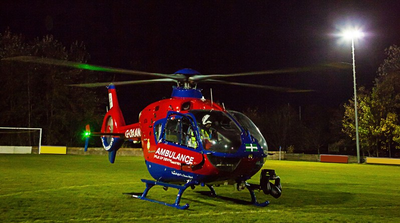 Devon Air Ambulance night landing
