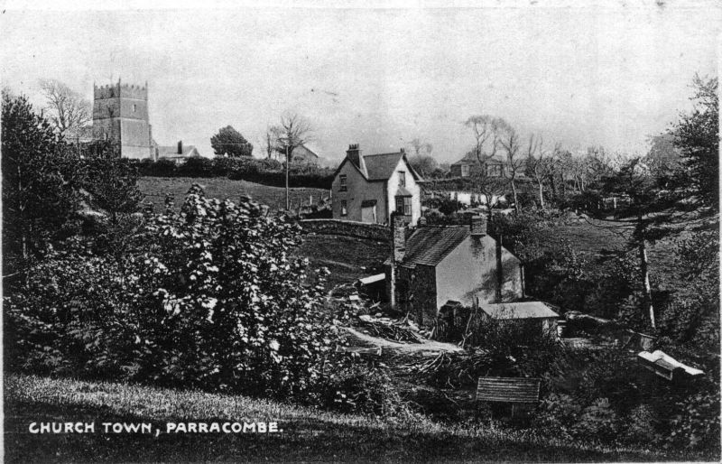 Postcard of 'Church Town Parracombe' - kind permission of David Blackmore