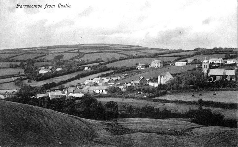 Postcard of 'Parracombe from Castle' - kind permission of Emma Tucker