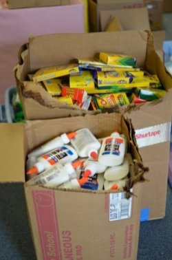 Tons of glue and crayons for students!