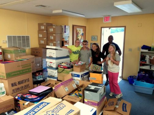 Massaponax Baptist Church youth group helping unload supplies!