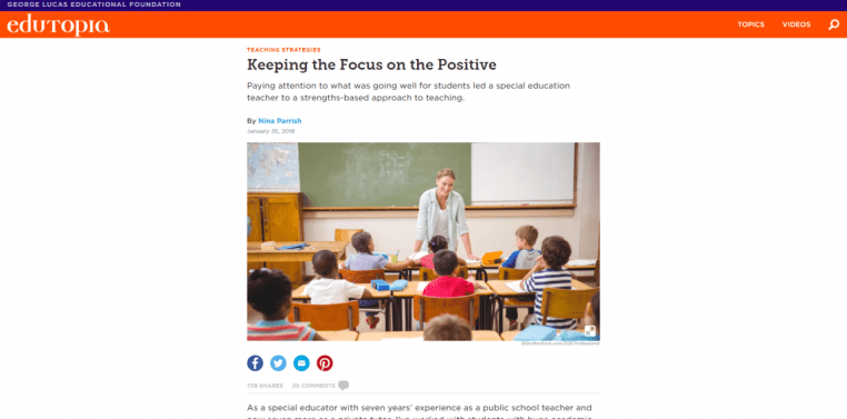 Edutopia Keeping the Focus on the Positive 739 shares