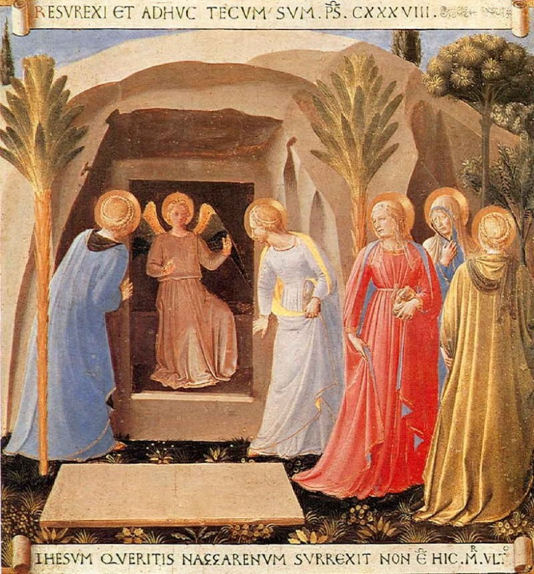 """Un angelo apparve loro in vesti sfolgoranti e disse loro : """" perché cercate fra i morti colui che è vivo? Non è qui, è risuscitato.  Presto, andate ad annunciarlo ai suoi discepoli"""""""