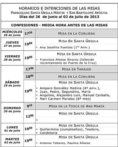 Horarios del 26 de Junio al 2 de Julio de 2013