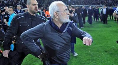 Greek football club owner banned for invading pitch with gun