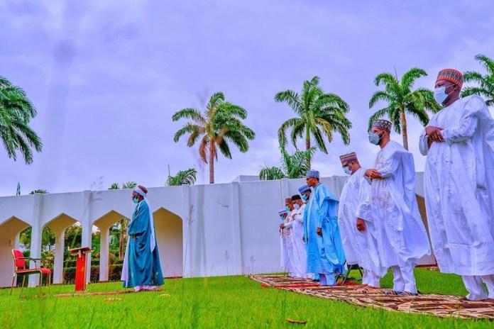 PHOTOS: President Muhammadu Buhari observes Eid prayers with members of immediate family