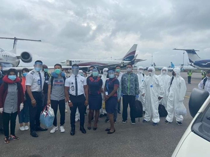 Omotola Jalade reacts as her husband flies back Chinese nationals who arrived Nigeria weeks ago