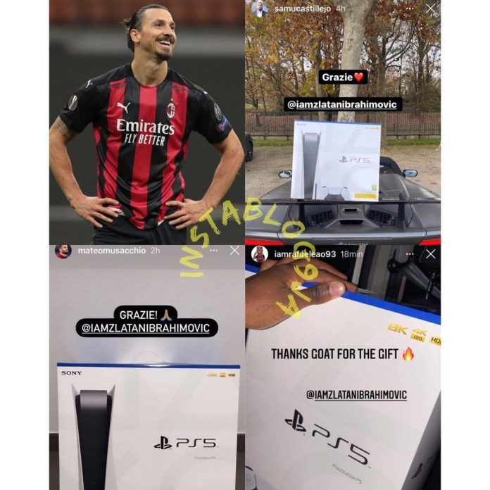 Footballer Zlatan Ibrahimovic buys AC Milan team-mates a PS5 each (Photos)