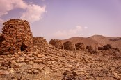 A line of beehive tombs on a ridge