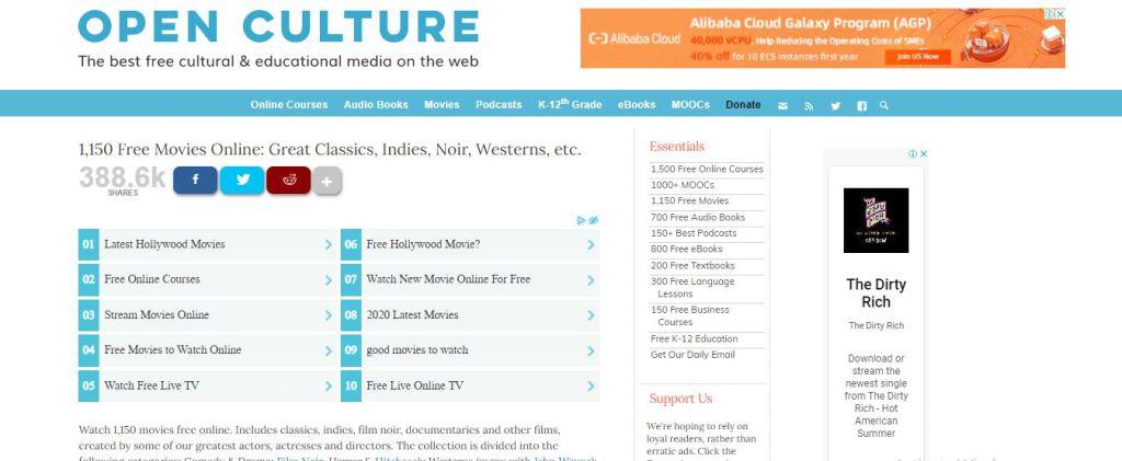 Screenshot of Open Culture