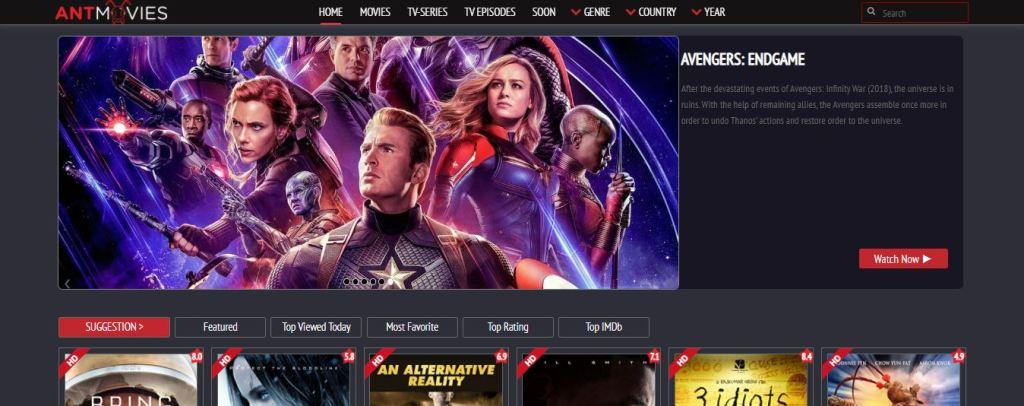 Screenshot of Antmovies Website