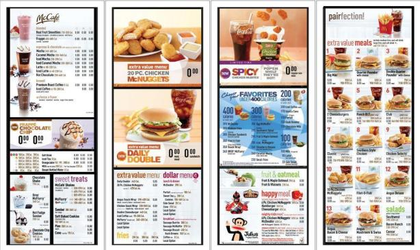 Calorie count and content of some fast foods