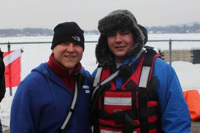 Rescue and Recovery Chief John Tranculov and Captain Louis Yuliano prepare for the drill