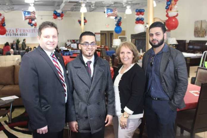 Parsippany-Troy Hills Vice President Robert Peluso, owners Mo Mohammad and Mohammed Zarir and Parsippany Council Candidate Aida Visakay at the Grand Opening of Eleganza Furniture, 792 Route 46, Arlington Plaza