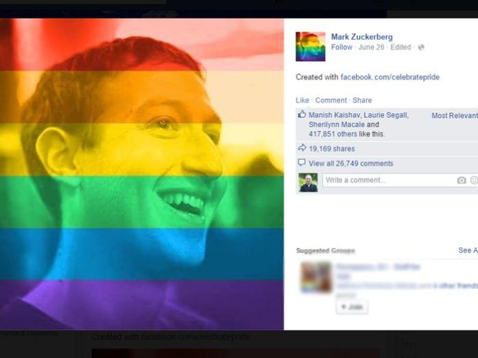 """Mark Zuckerbook and millions of others changed their profile photo to include the rainbow flag with it's own """"celebrate pride"""" tool."""