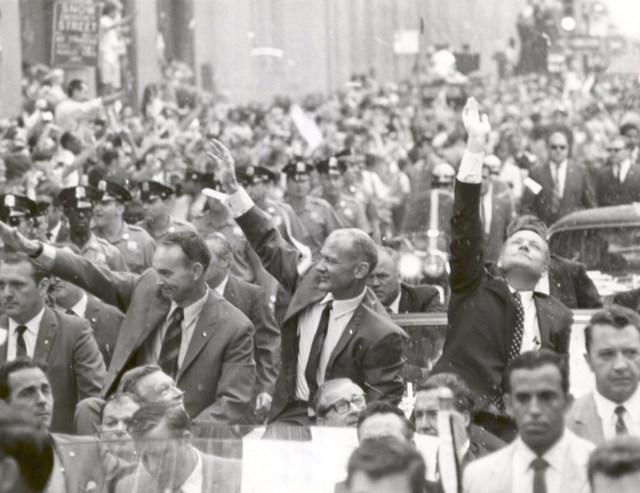 (August 13, 1969) New York City welcomes the three Apollo 11 astronauts, Neil A. Armstrong, Michael Collins, and Buzz Aldrin, Jr., in a showering of ticker tape down Broadway and Park Avenue, in a parade termed at the time as the largest in the city's history.