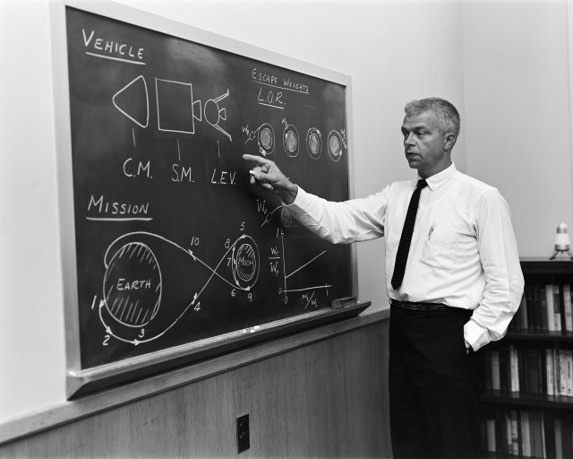 (July 24, 1962) John C. Houbolt at blackboard, showing his space rendezvous concept for lunar landings. Lunar Orbital Rendezvous (LOR) would be used in the Apollo program. Although Houbolt did not invent the idea of LOR, he was the person most responsible for pushing it at NASA. On July 11, 1962, Seamans and NASA Administrator James Webb announced during a press conference that LOR had been chosen as the primary mission mode for manned moon landing.
