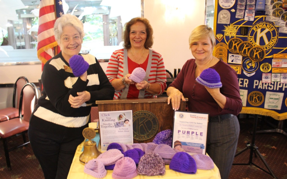 "Kiwanis Club ""Knits"" to help educate parents to prevent Infant Abuse"