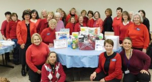 Members wore red to the February club meeting to draw attention to women's heart health