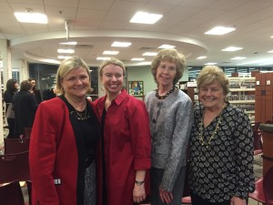 L to R: Club members Karen DeChristopher, Cathy Cerbo and Mary Ann Coyne along with former, and only female Parsippany Mayor, Mimi Letts.  Mrs Letts was Township Mayor when the new library building was acquired.