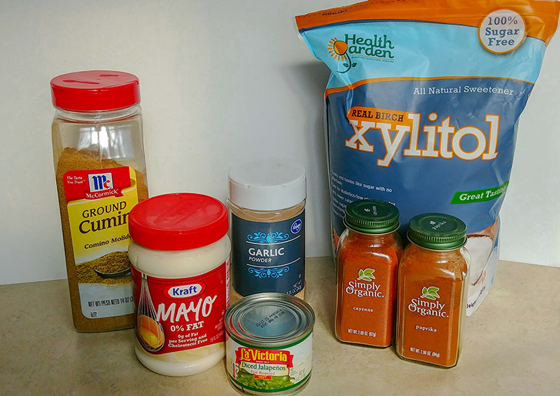 Ingredients for HCG Jalapeno Cream Sauce (Use Primal Mayo for Paleo)
