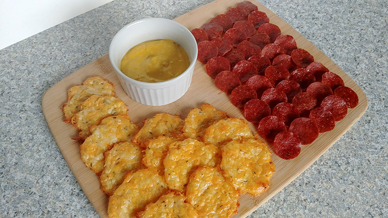 Cheese Chips, Pepperoni Chips & Mustard Dip Recipe