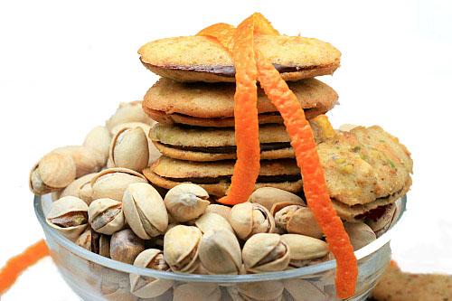 Pistachio Milanos with Orange Chocolate-Cardamom filling
