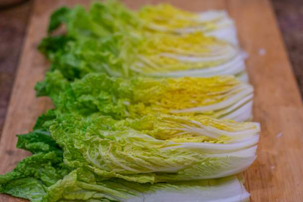 napa cabbage quartered