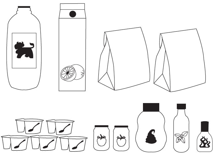 Pictographs of food and ingredients by students of Design
