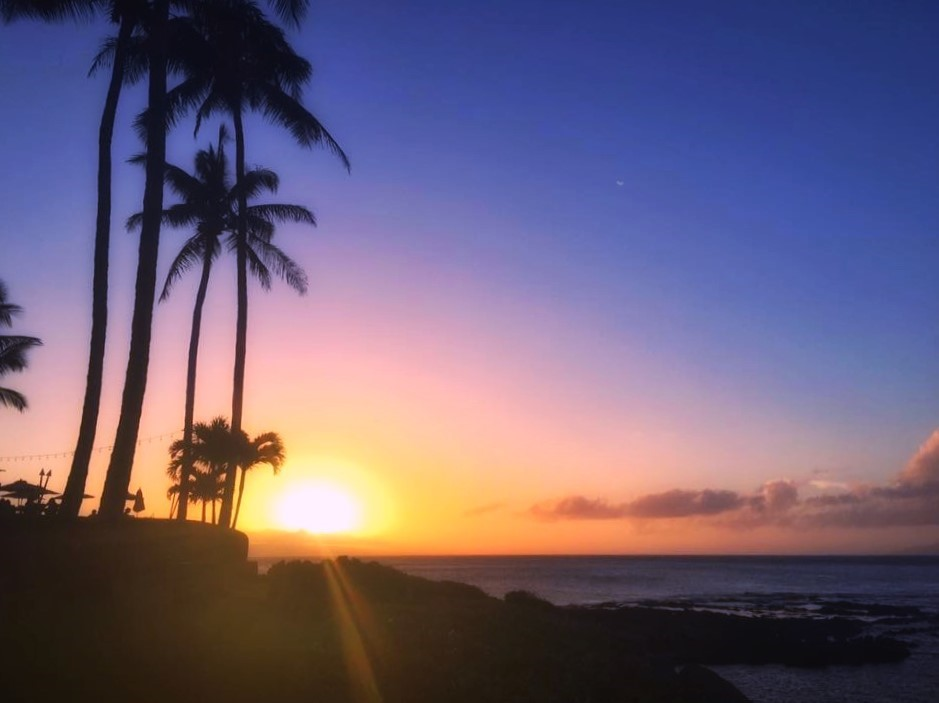Part-time traveller in Hawaii at sunset