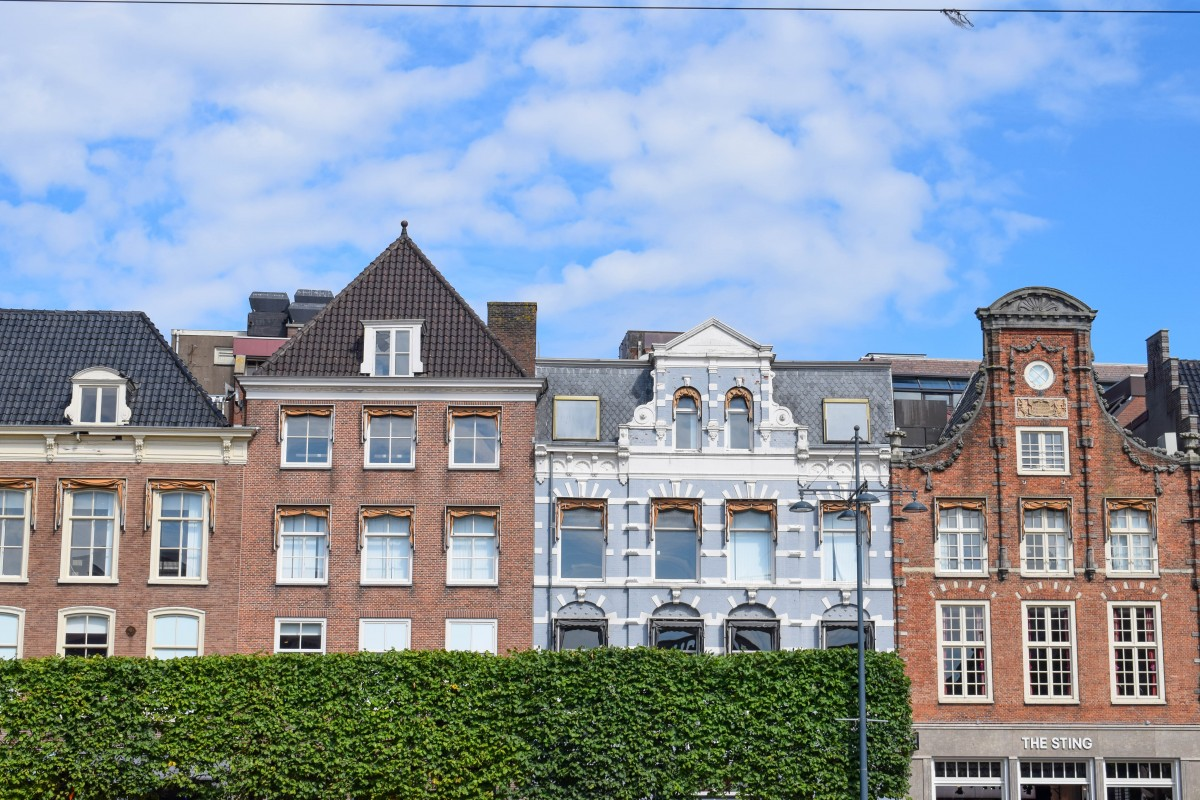 Row of houses in the main square of Haarlem, Amsterdam in the Netherlands
