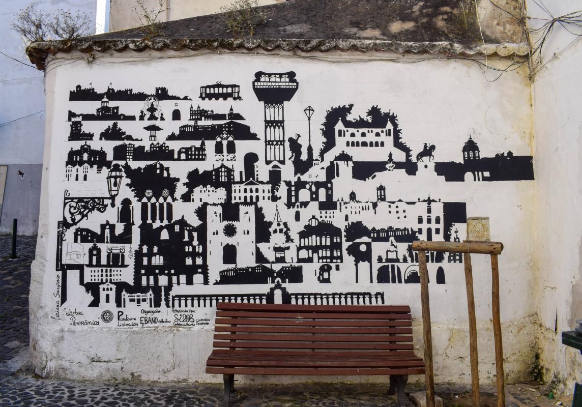 Wall art of the Lisbon skyline in Mouraria Lisbon