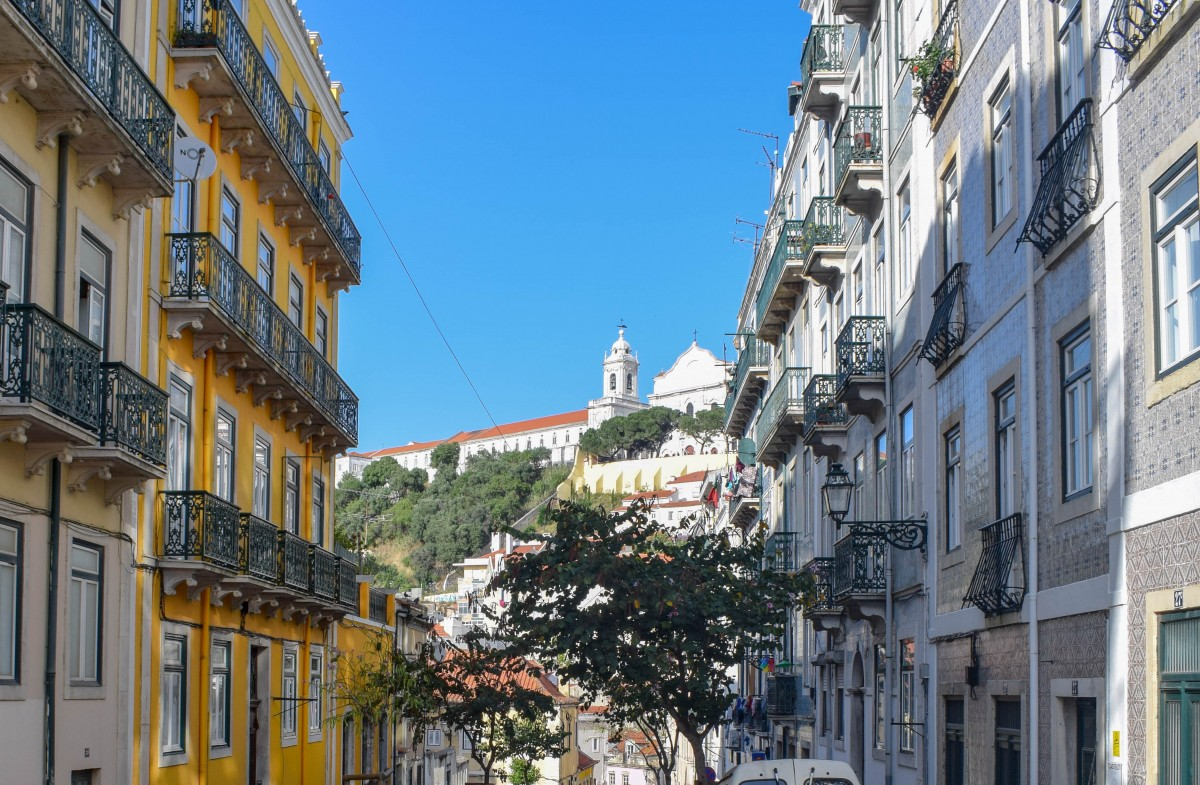 Rooftops in Mouraria Lisbon Portugal