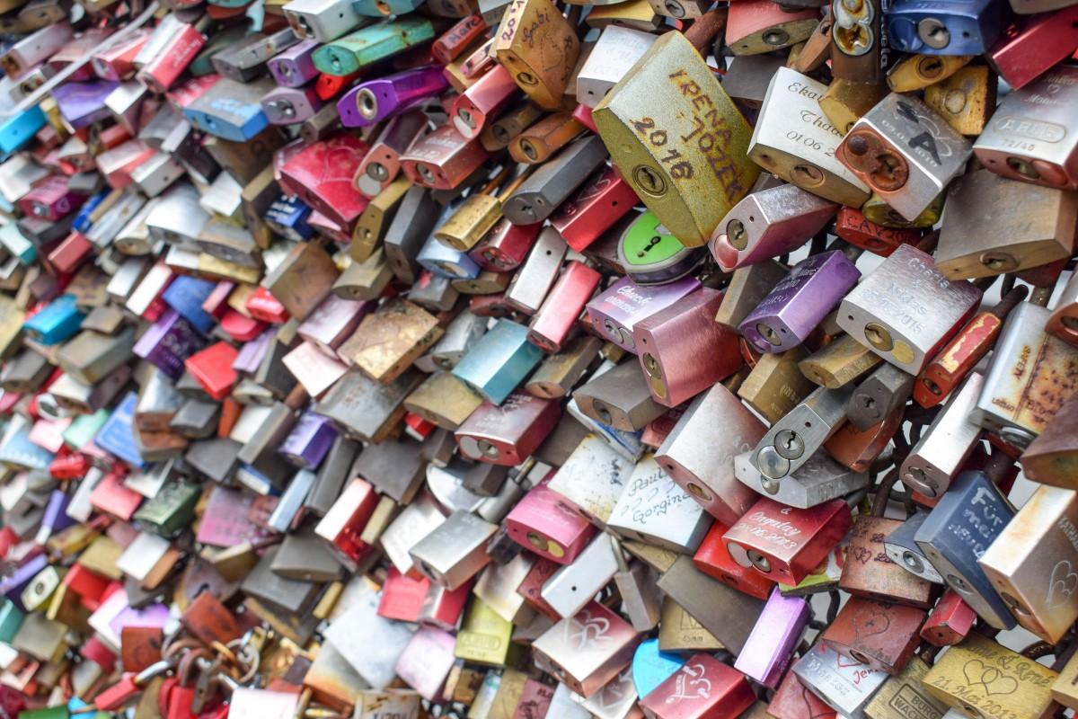 Hohenzollern Bridge Cologne padlocks close-up