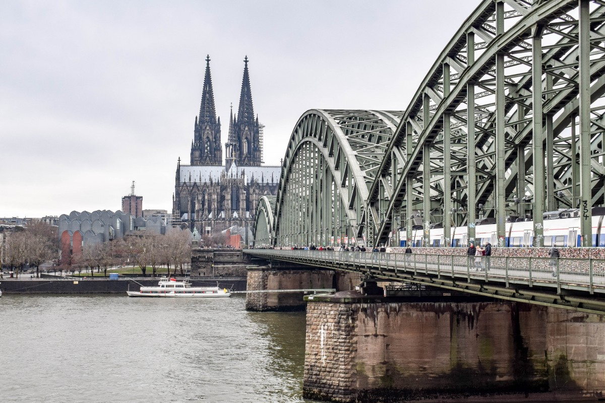 View of Cologne Cathedral from Hohenzollern Bridge