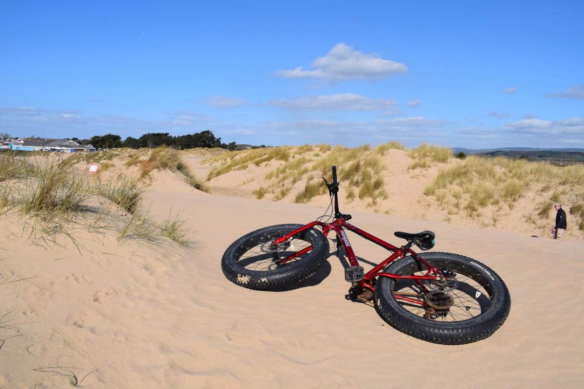 bike on sand dunes porthcawl