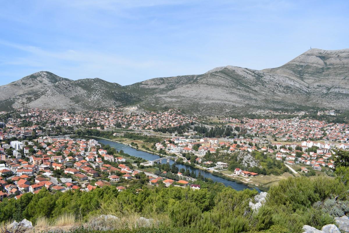 Views of Trebinje from Hercegovacka Gracanica Monastery in Bosnia Herzogovina