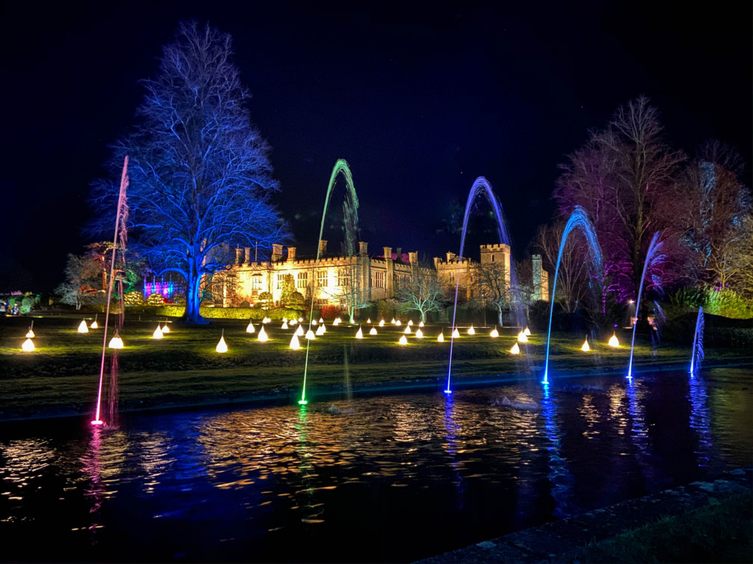 Sudeley Castle Spectacle of Light Cotswolds at Christmas fountains