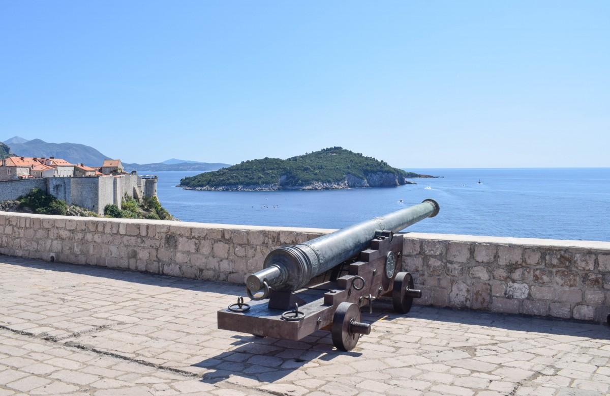 Short break in Dubrovnik Croatia, cannon at Fort Lovrijenac overlooking the Adriatic Sea
