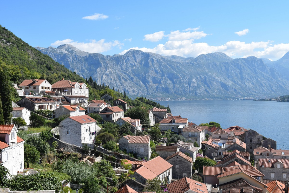 View from the bell-tower of St Nikola Church in Perast, Montenegro