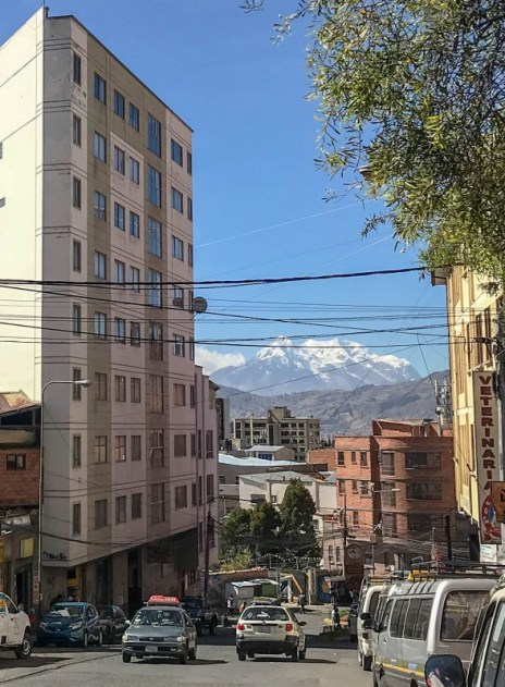 La Paz city walking tour Bolivia view of mountains from city