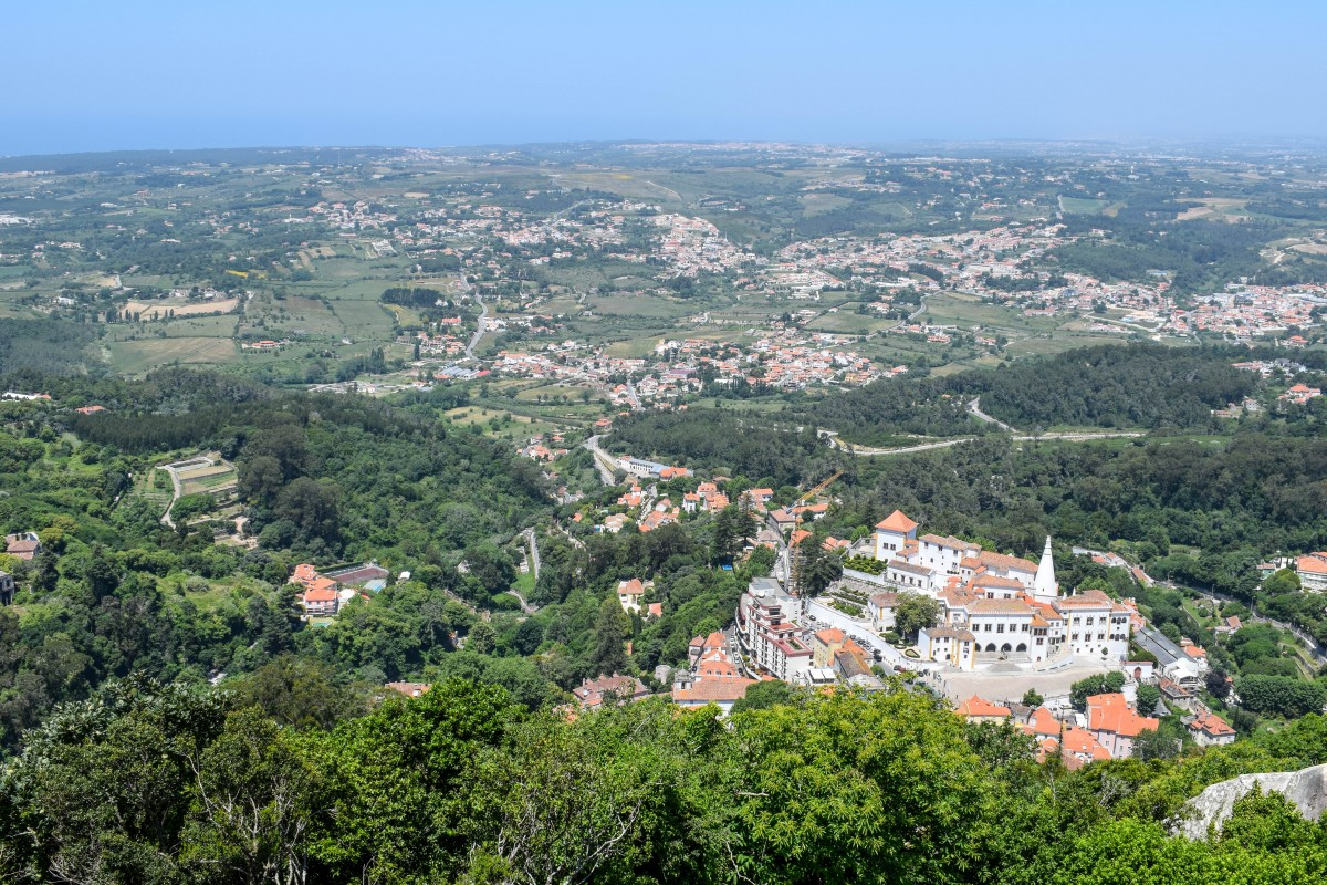 View of National Palace from Moorish Castle Sintra Day Trips from Lisbon Portugal