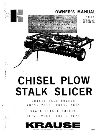 Kuhn 2800 Stalk Slicer Chisel Plow owner's manual